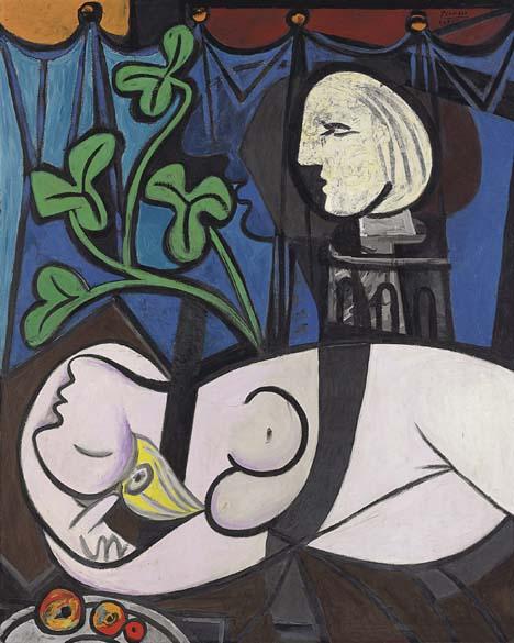 Pablo Picasso – <em>Nu, folhas e busto</em>, 1932 - 106 milhões de dólares - Comprador desconhecido. A obra <em>Nu, folhas e busto</em>, retratando a musa Marie-Thérèse Walter, é a compra mais recente da lista e foi leiloada pela Christies em Nova York em 4 de maio deste ano. Os donos, o casal Sidney e Frances Brody – ficou com a obra por seis décadas. Como muitas das pinturas desta galeria foram negociadas diretamente entre compradores e vendedores, esta é a segunda obra de arte mais cara a ser leiloada da história