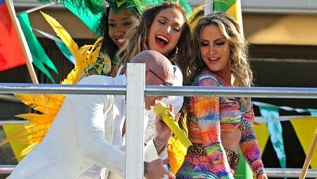 PitBull, Jennifer Lopez e Claudia Leitte no clipe da música oficial da Copa