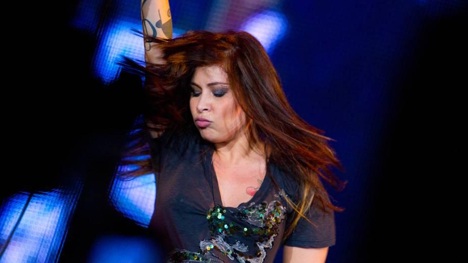Pitty durante o show no palco Mundo, no último dia do Rock in Rio, em 02/10/2011