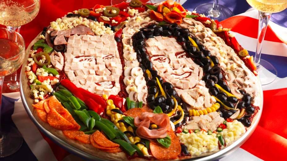Pizza com a imagem do príncipe William e Kate Middleton, Londres