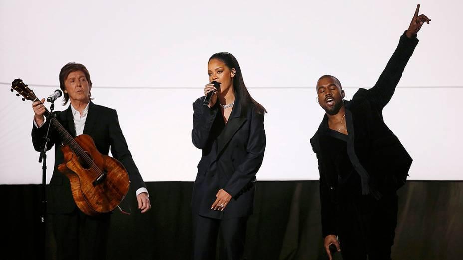 Rihanna,Paul McCartney e Kanye West, durante 57ª edição do Grammy, premiação que elege os melhores da música internacional, que acontece neste domingo (08)