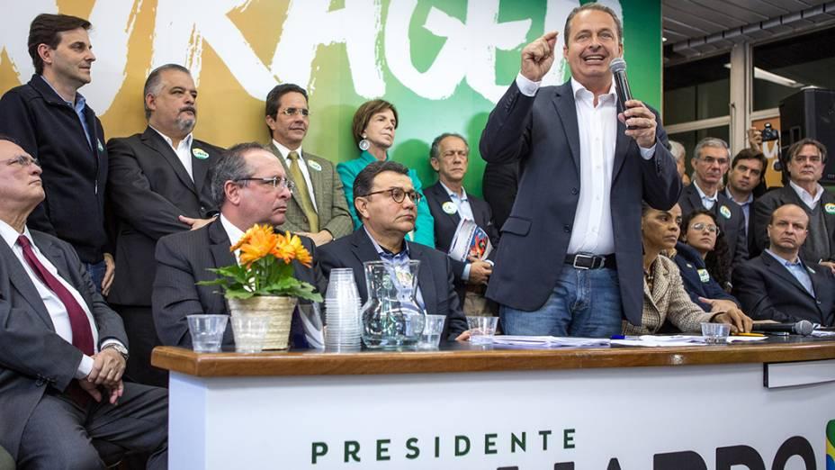 Eduardo Campos, candidato à Presidência da República pelo PSB, e Marina Silva, candidata a vice, participam da inauguração do Comitê Central de Campanha, na cidade de São Paulo