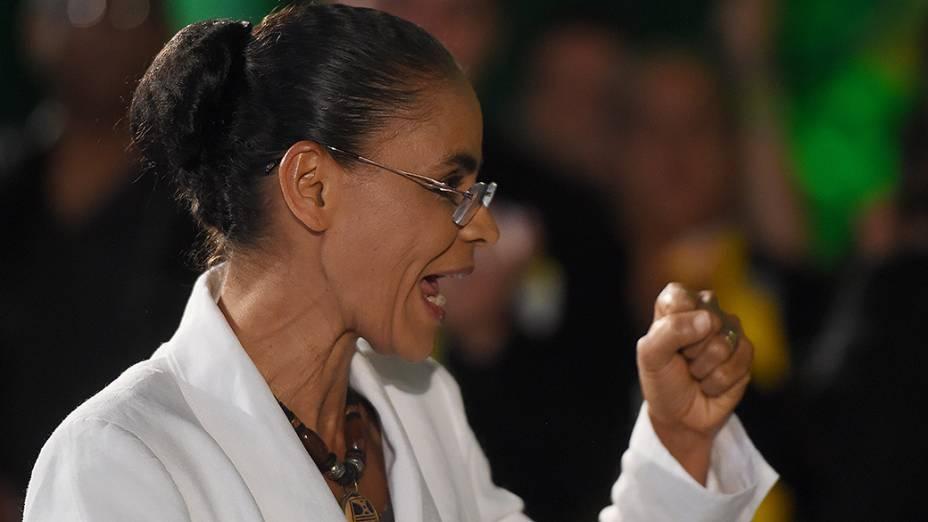 Marina Silva faz discurso após resultado do primeiro turno