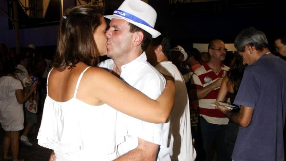 O prefeito  Eduardo Paes prestigiou o ensaio da Portela junto com a primeira-dama