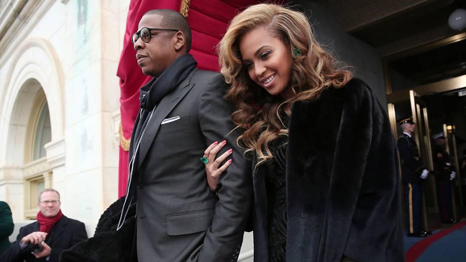 A cantora Beyoncé e seu marido, o rapper Jay-Z, chegam para cerimônia de posse de Barack Obama, em Washington