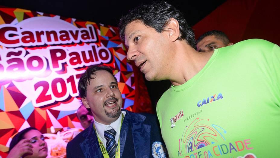 O prefeito de São Paulo, Fernando Haddad, no segundo dia de Carnaval no Anhembi