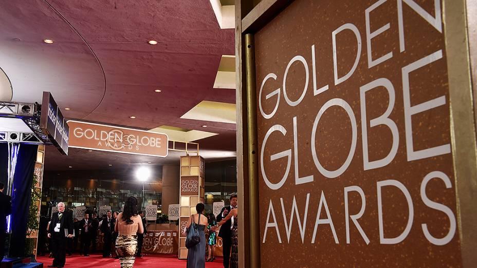 Maria Menounos durante 72ª edição do Globo de Ouro, prêmio da associação de correspondentes de Hollywood que elege os melhores do cinema e da TV, em Los Angeles, nos EUA