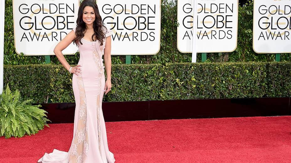 Tracey Edmonds durante 72ª edição do Globo de Ouro, prêmio da associação de correspondentes de Hollywood que elege os melhores do cinema e da TV, em Los Angeles, nos EUA
