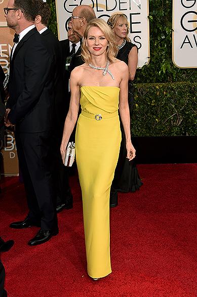 A atriz Naomi Watts durante 72ª edição do Globo de Ouro, prêmio da associação de correspondentes de Hollywood que elege os melhores do cinema e da TV, em Los Angeles, nos EUA