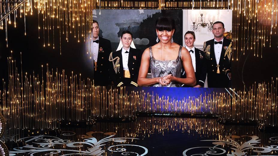 A primeira-dama dos Estados Unidos, Michelle Obama, anunciou direto da Casa Branca o vencedor da premiação de melhor filme do Oscar 2013