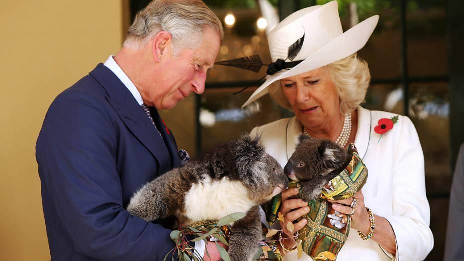 O Príncipe de Gales, Charles, e sua mulher Camilla seguram koalas nesta quarta-feira (7), em Adelaide, na Austrália