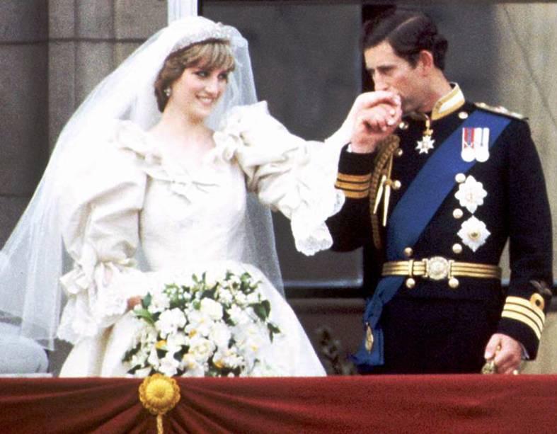 Charles e Diana no Palácio de Buckingham em Londres, 29 de julho de 1981