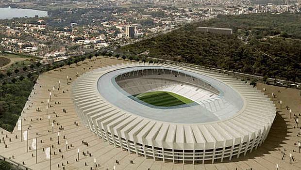 Projeto do Estádio do Mineirão para a Copa no Brasil: palco de partidas da fase de grupos e de uma semifinal da Copa das Confederações