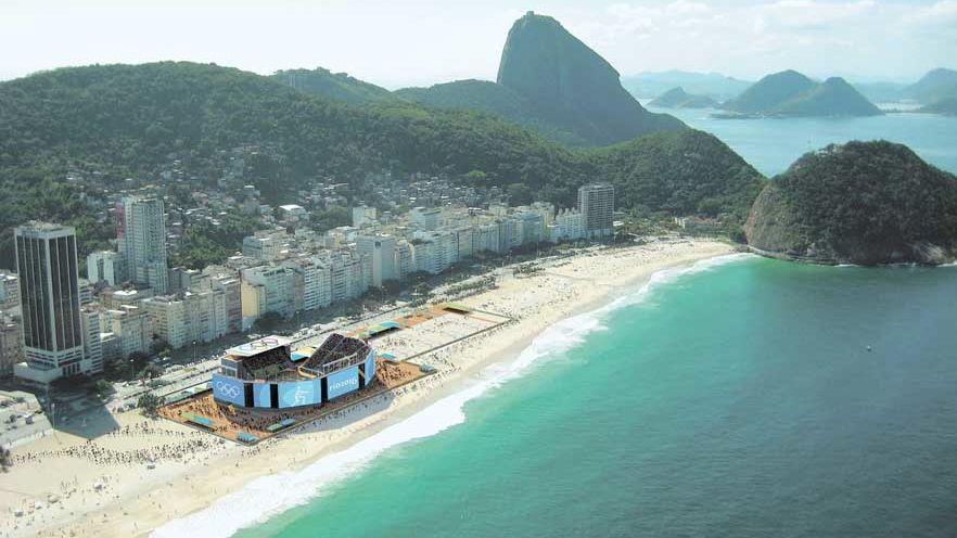 O projeto do Rio-2016: arena temporária do vôlei de praia, em Copacabana