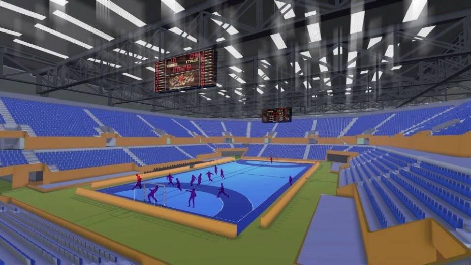 Projeto da arena de handebol, uma instalação temporária, para a Olimpíada do Rio-2016