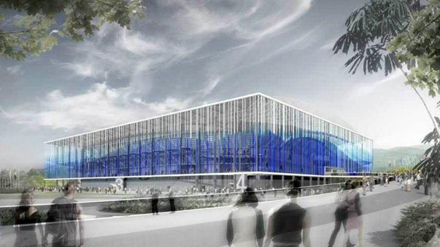 Projeto do centro de esportes aquáticos, uma instalação temporária, para a Olimpíada do Rio-2016