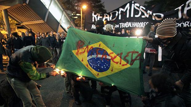 Vandalismo durante protesto em São Paulo
