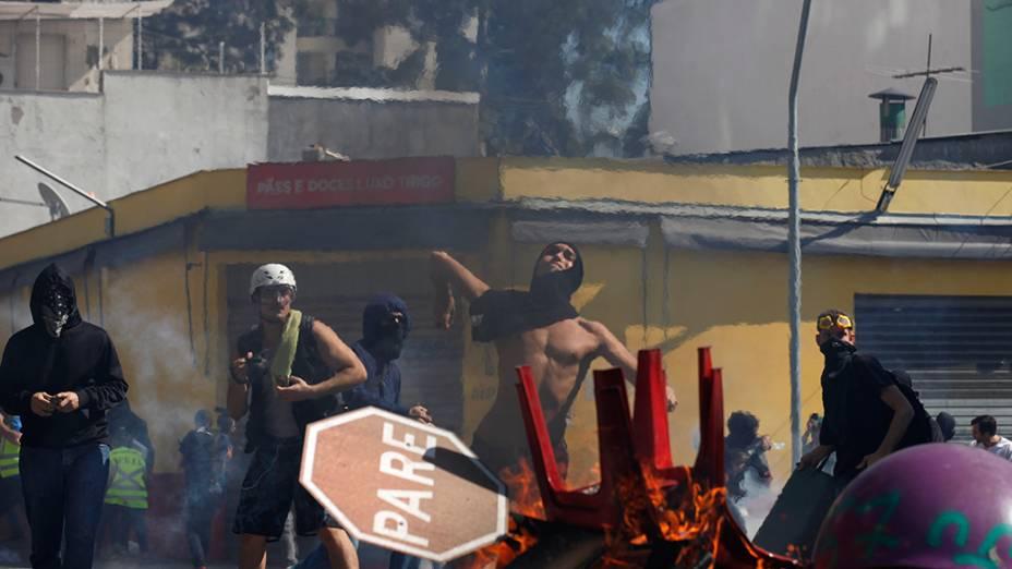 Protesto contra a Copa do Mundo, em São Paulo