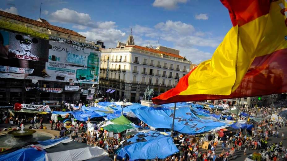 Manifestação contra a crise econômica espanhola na Praça do Sol, em Madri