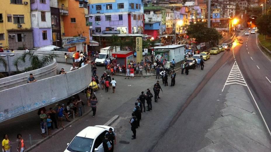 Protesto na Rocinha: policiamento foi reforçado para ato nesta terça (25/6)