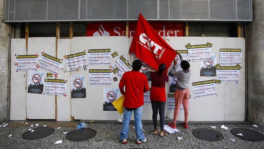 Protesto no Rio: agências bancárias do Centro aderiram à greve desta quinta (11/7)