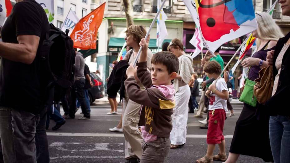 Manifestação durante greve nacional de professores, que reivindicam melhores condições para a educação, em Lyon, na França