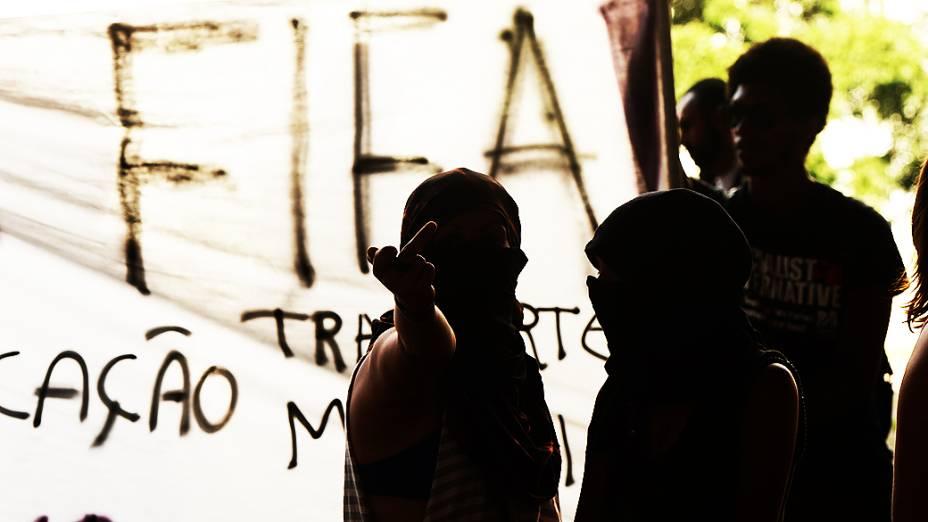 Protesto contra a Copa na Avenida Paulista, em São Paulo
