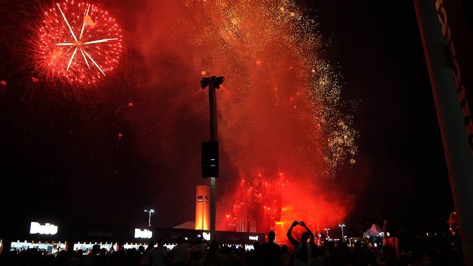 Fogos de artifício no Palco Mundo, no Rock in Rio 2013