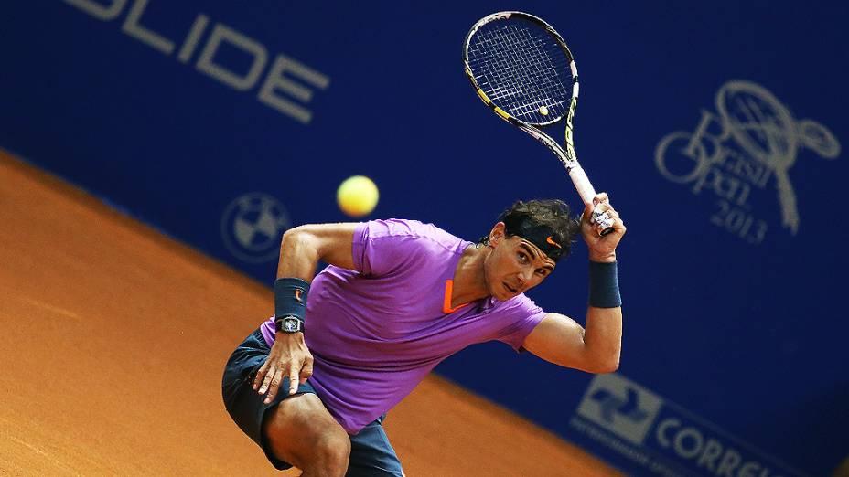 O espanhol Rafael Nadal fez sua primeira partida no Brasil Open 2013, no Ginásio do Ibirapuera em São Paulo
