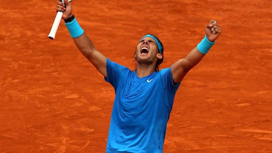 Rafael Nadal comemora vitória e classificação para final de Roland Garros