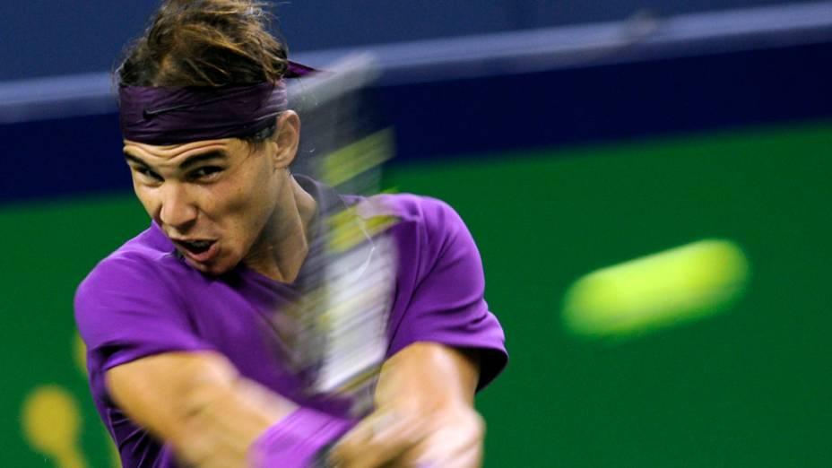 O espanhol Rafael Nadal durante partida com o seu compatriota Guillermo Garcia-Lopez, válida pela segunda rodada do ATP 1000 de Xangai, na China