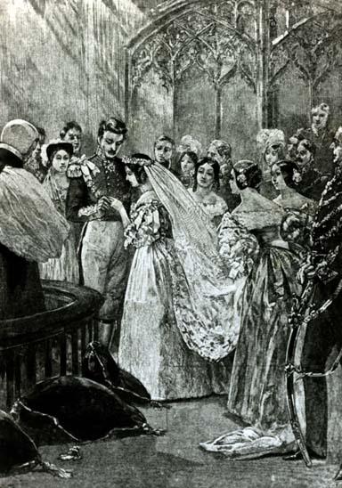 1840 - Ilustração da rainha Victoria (1819 - 1901) com o príncipe Albert (1819 – 1861)