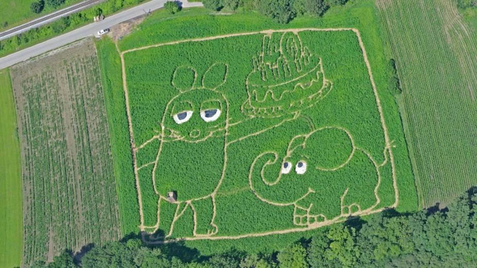"""Os personagens do programa infantil alemão """"Die Sendung mit der Maus"""" desenhados em campo da cidade de Utting, Alemanha. O desenho forma um labirinto que pode ser visitado pelo público até setembro"""