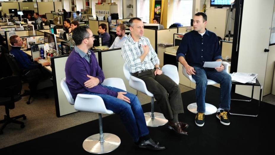 Equipe da revista Placar em gravação do programa Redação Sportv