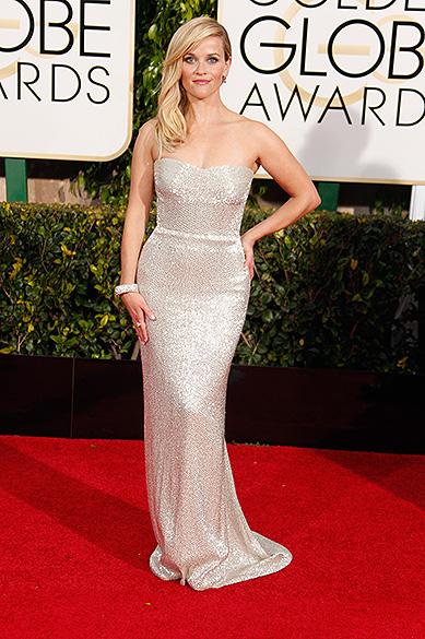 Reese Witherspoon durante 72ª edição do Globo de Ouro, prêmio da associação de correspondentes de Hollywood que elege os melhores do cinema e da TV, em Los Angeles, nos EUA