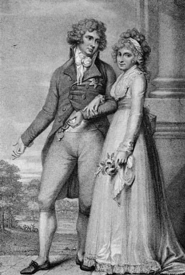 1795 - Ilustração do rei George da Inglaterra (1768 - 1830) com a rainha Caroline (1768 - 1821)