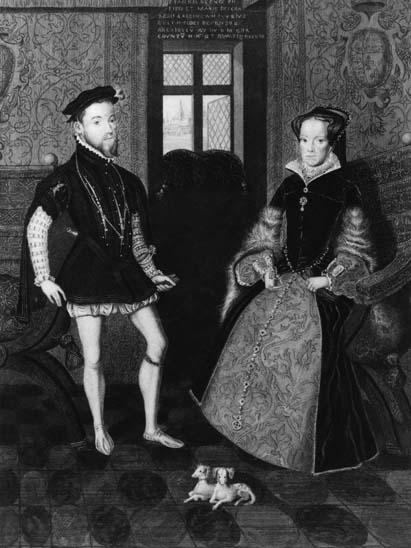 1554 - Ilustração do rei Philip II da Espanha (1527 - 1598) com a rainha Mary I da Inglaterra (1516 - 1558)