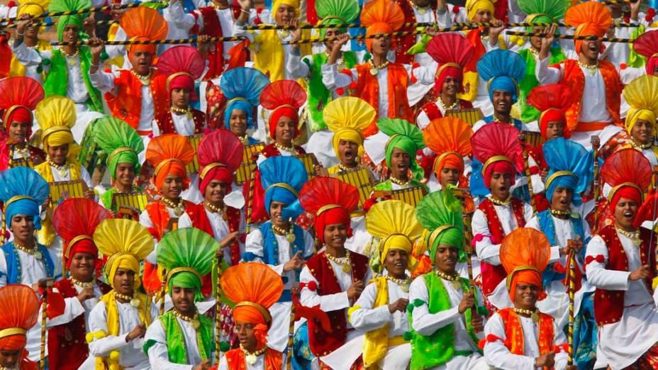 Estudantes durante o desfile do Dia da República em Nova Délhi, Índia
