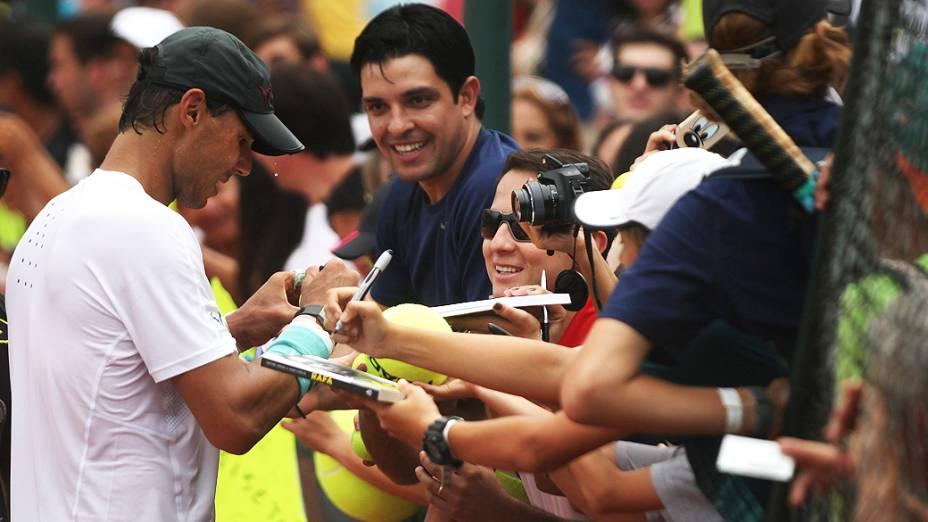 Rafael Nadal em treino no Jockey Club, no Rio de Janeiro