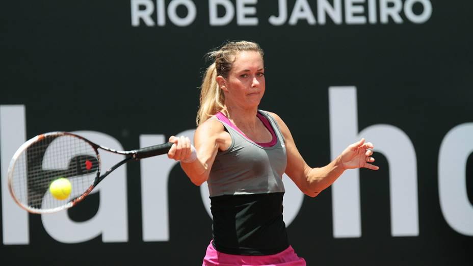 A checa Klara Zakopalova durante a partida contra a colombiana Mariana Duque Marino