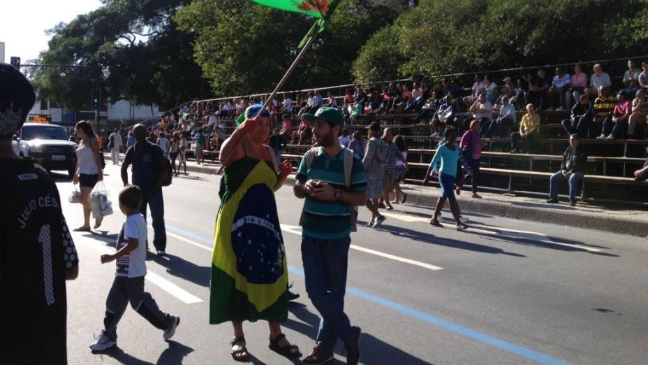 Manifestantes com os rostos pintados no Rio de Janeiro, no protesto de 7 de Setembro