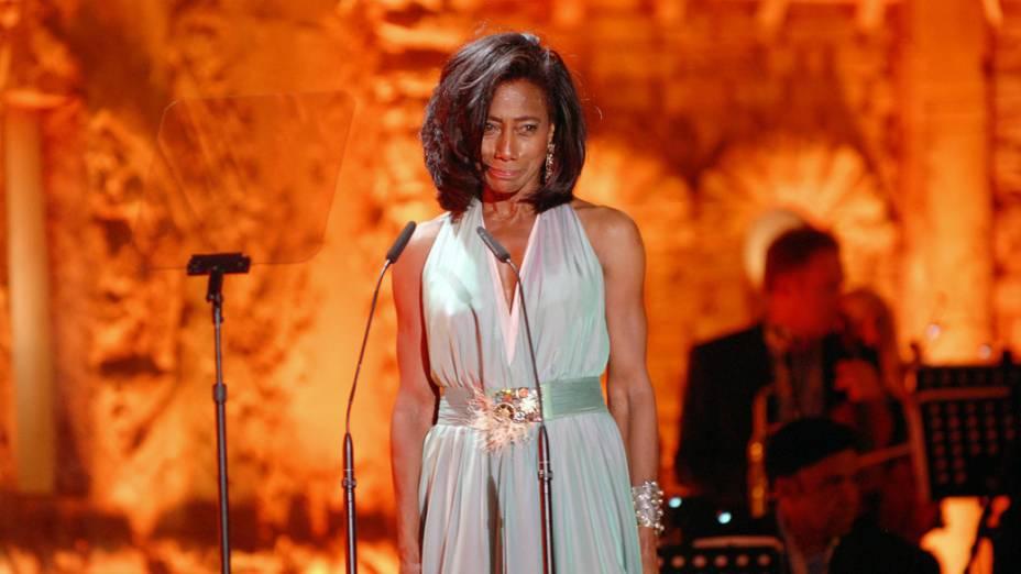 Glória Maria durante o show de Roberto Carlos em Jerusalém
