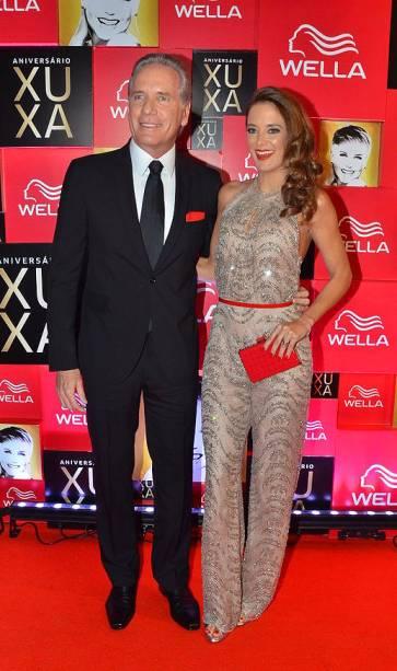 Roberto Justus e Ticiane Pinheiro na festa de 50 anos da apresentadora Xuxa, em 28 de maio