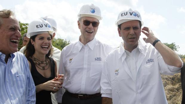 Roberto Medina, Roberta Medina, Carlos Arthur Nuzman e Eduardo Paes na cerimônia de início das obras do Parque Olímpico Cidade do Rock