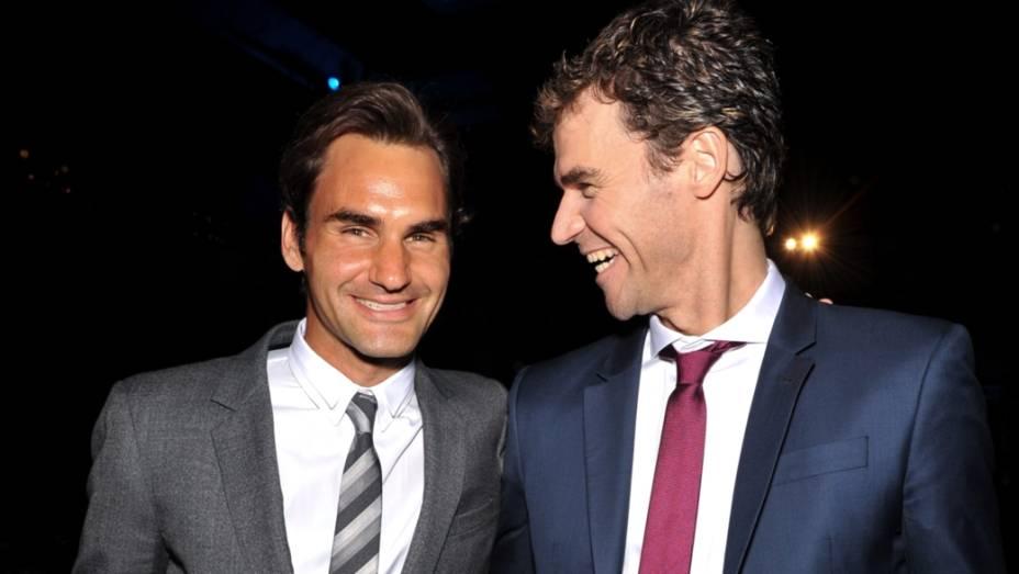 Roger Federer e Gustavo Kuerten, em Nova York, às vésperas do US Open 2013