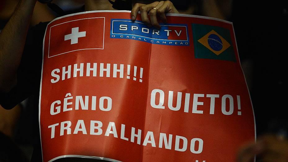 Torcida durante o Gillette Federer Tour, no ginásio do Ibirapuera, em São Paulo