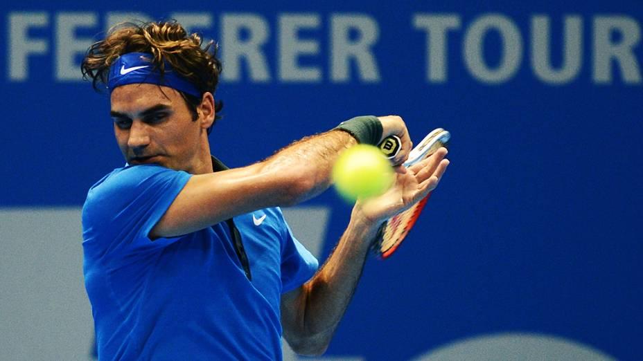 Roger Federer durante o Gillette Federer Tour, no ginásio do Ibirapuera, em São Paulo