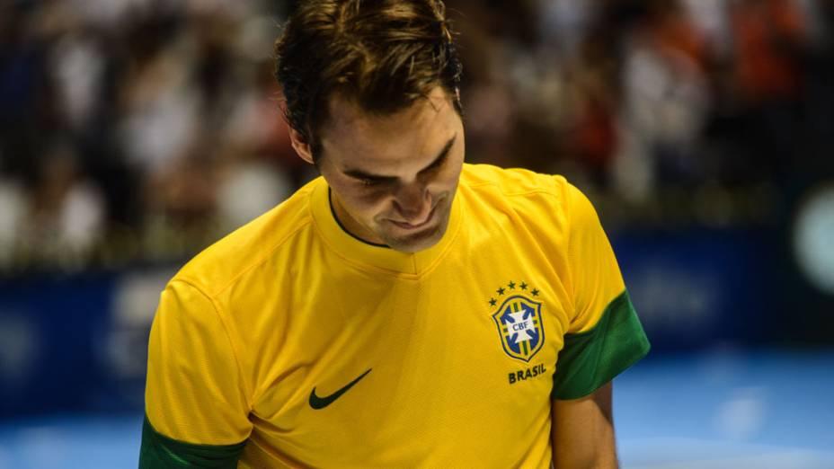 Roger Federer vence Tommy Haas neste domingo (09/12),em partida de exibição no Ginásio do Ibirapuera, em São Paulo