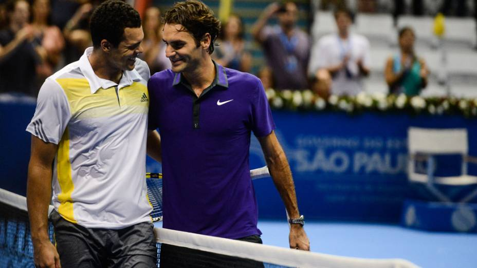 Roger Federer vence Jo-Wilfried Tsonga neste sábado (08/12),em partida de exibição pelo Gillette Roger Federer Tour em São Paulo no ginásio do Ibirapuera