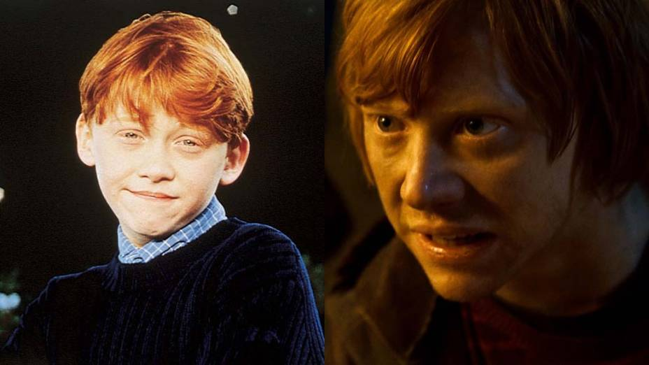 Rupert Grint como Ron em <em>Harry Potter e a Pedra Filosofal</em>, de 2001, e em <em>Harry Potter e as Relíquias da Morte: Parte 2</em>, de 2011